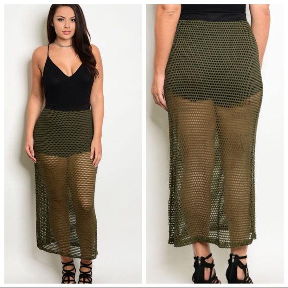 7989a4ebd45d3 NEW PLUS SIZE olive green mesh skirt with shorts